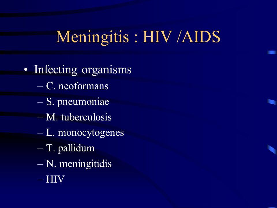 Meningitis : HIV /AIDS Infecting organisms C. neoformans S. pneumoniae