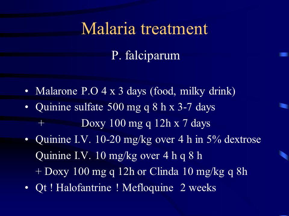 Malaria treatment P. falciparum