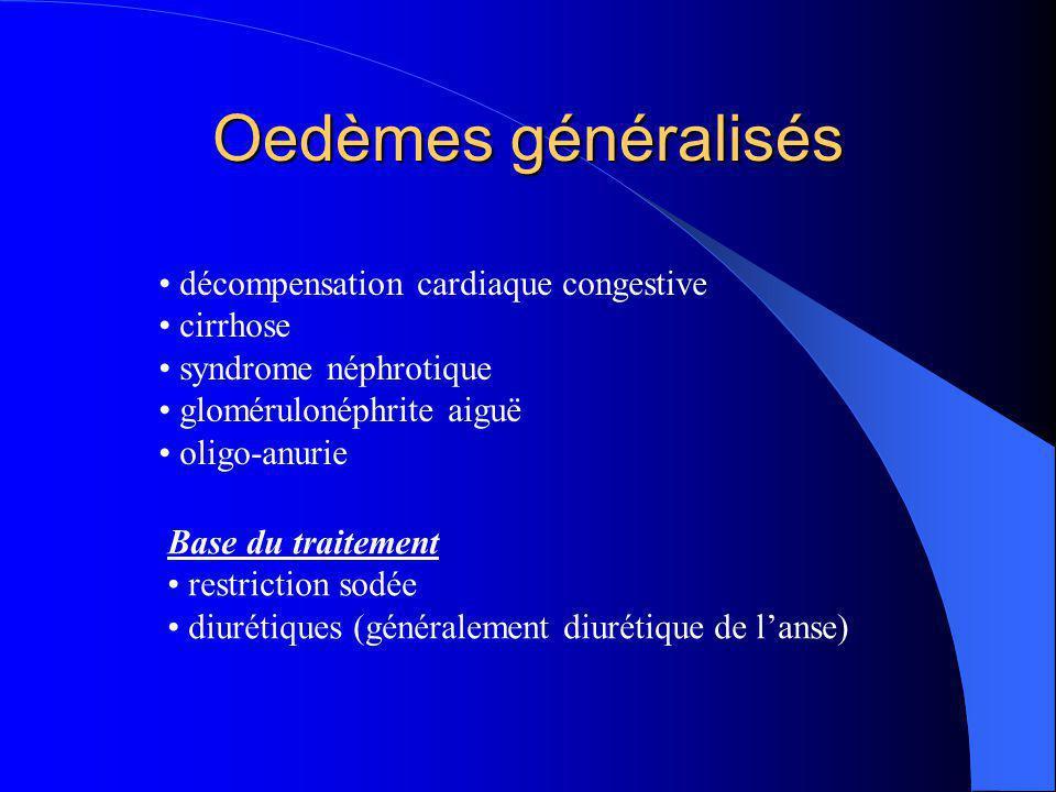 Oedèmes généralisés décompensation cardiaque congestive cirrhose