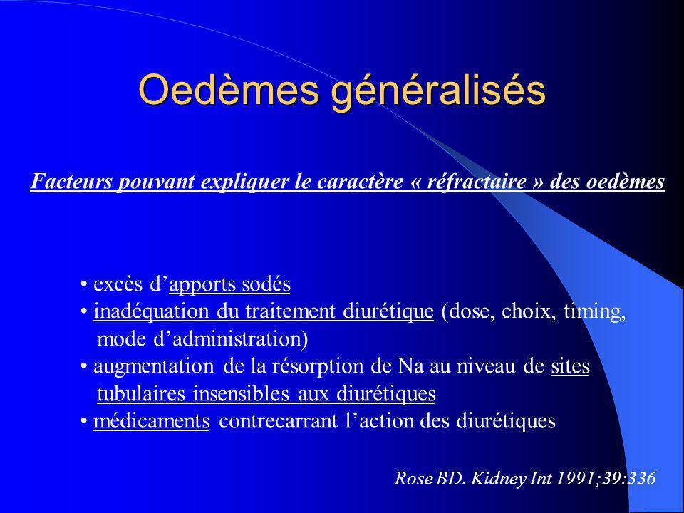 Oedèmes généralisés Facteurs pouvant expliquer le caractère « réfractaire » des oedèmes. excès d'apports sodés.