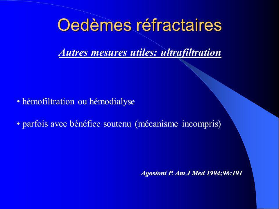 Oedèmes réfractaires Autres mesures utiles: ultrafiltration