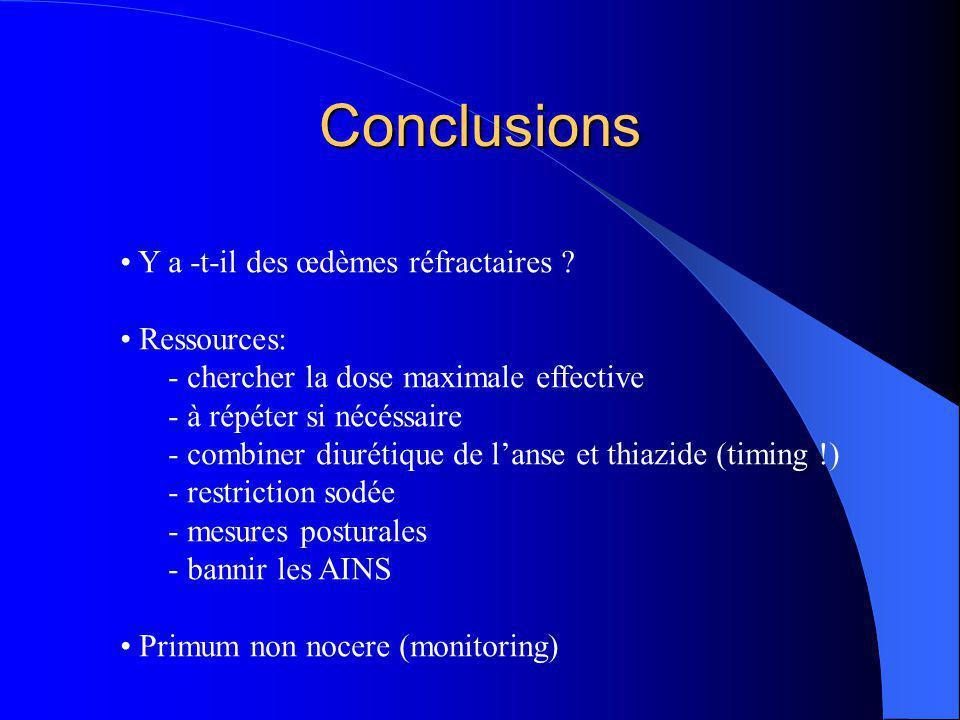 Conclusions Y a -t-il des œdèmes réfractaires Ressources: