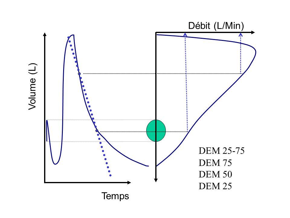 Débit (L/Min) Volume (L) DEM 25-75 DEM 75 DEM 50 DEM 25 Temps