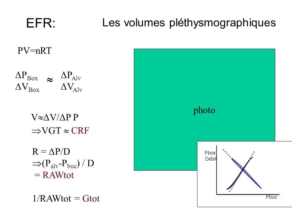 EFR: Les volumes pléthysmographiques  PV=nRT photo ΔPBox ΔVBox ΔPAlv
