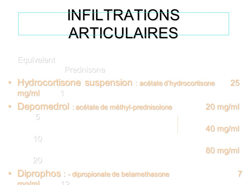 INFILTRATIONS ARTICULAIRES