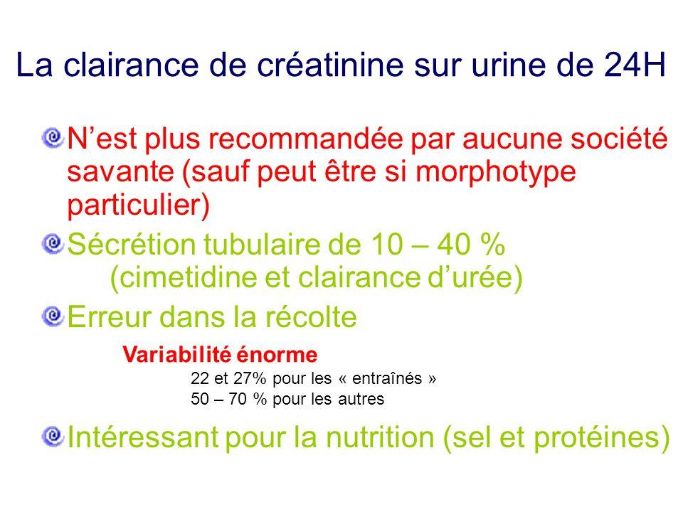 La clairance de créatinine sur urine de 24H