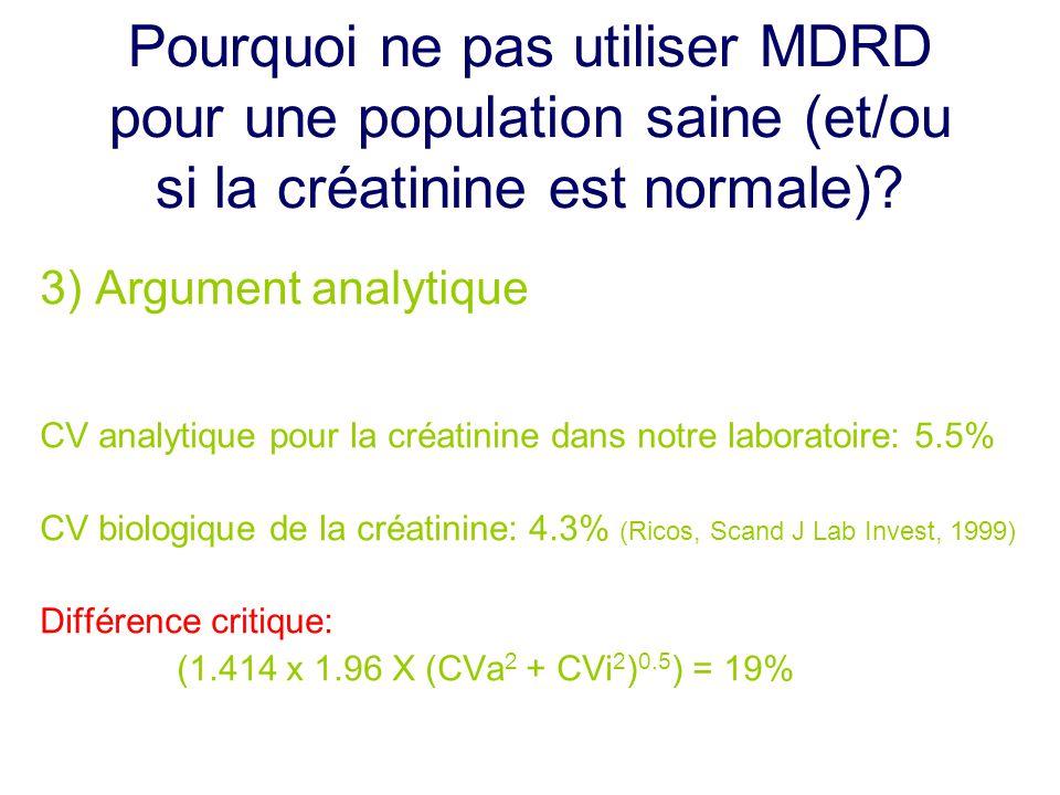Pourquoi ne pas utiliser MDRD pour une population saine (et/ou si la créatinine est normale)