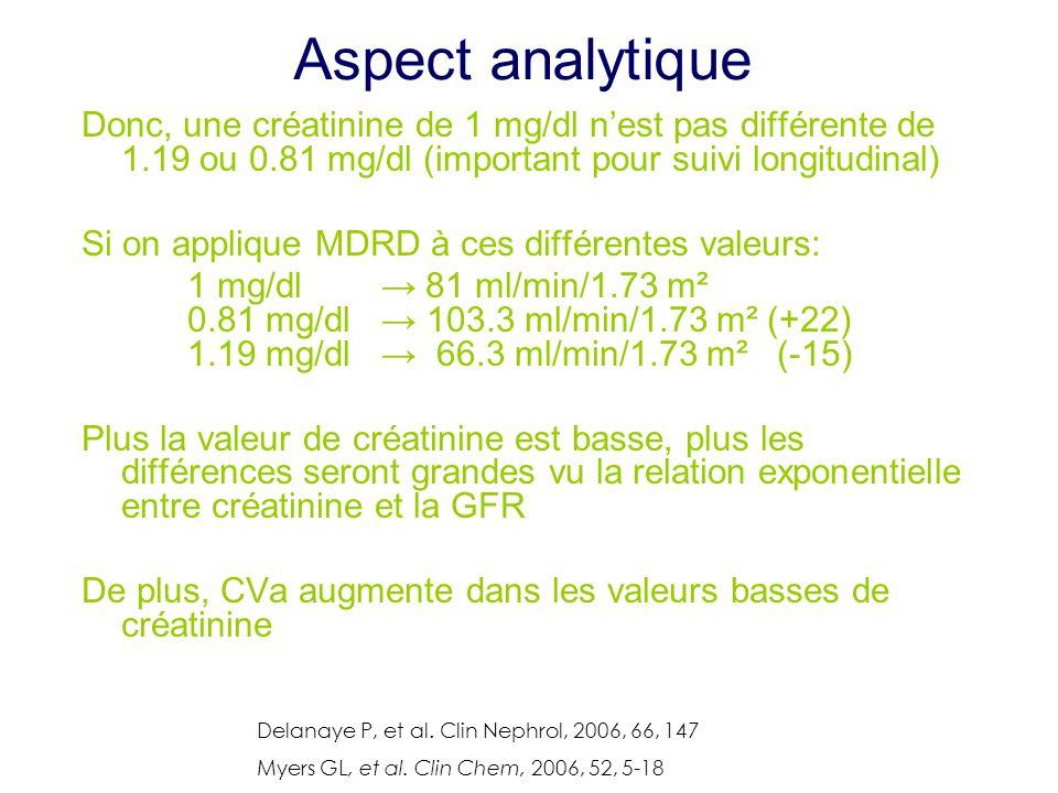 Aspect analytique Donc, une créatinine de 1 mg/dl n'est pas différente de 1.19 ou 0.81 mg/dl (important pour suivi longitudinal)