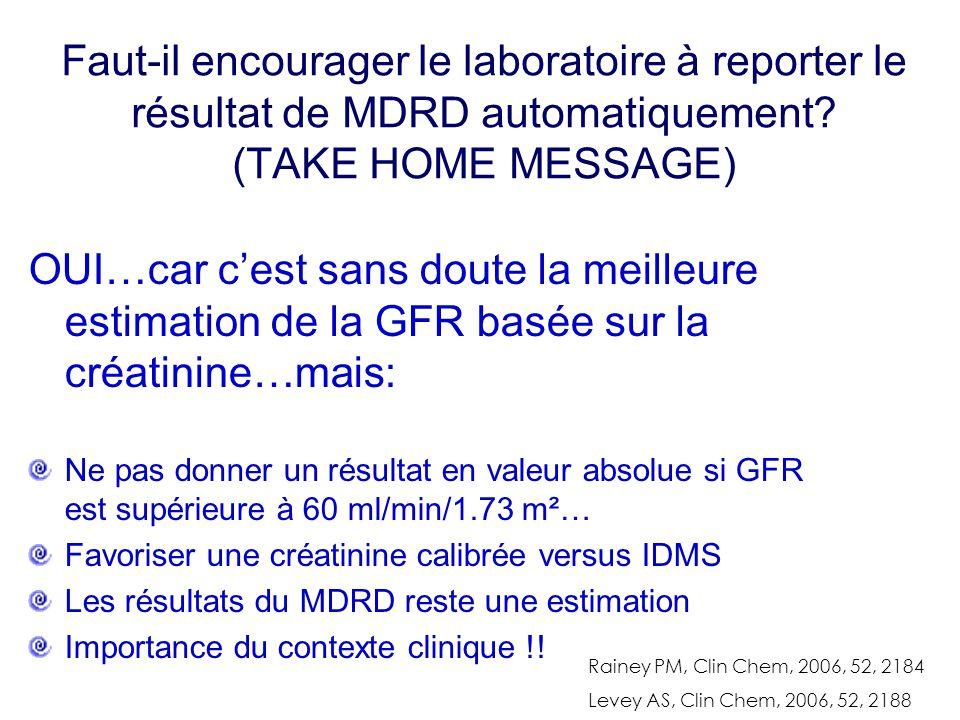 Faut-il encourager le laboratoire à reporter le résultat de MDRD automatiquement (TAKE HOME MESSAGE)