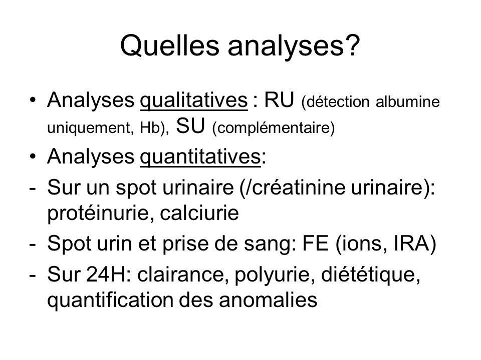 Quelles analyses Analyses qualitatives : RU (détection albumine uniquement, Hb), SU (complémentaire)