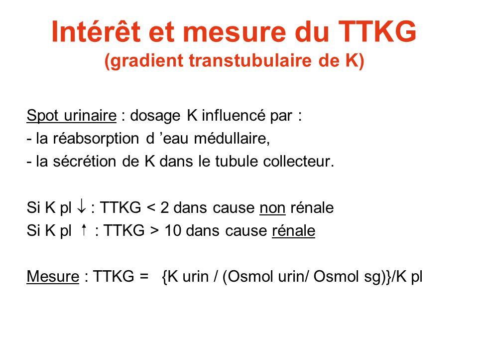 Intérêt et mesure du TTKG (gradient transtubulaire de K)