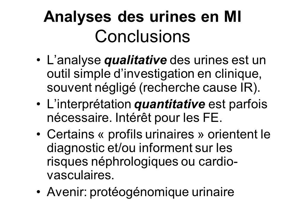 Analyses des urines en MI Conclusions