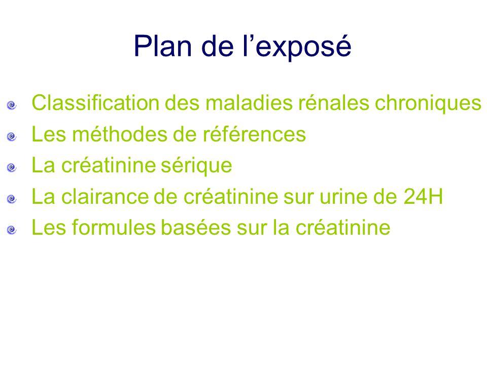 Plan de l'exposé Classification des maladies rénales chroniques