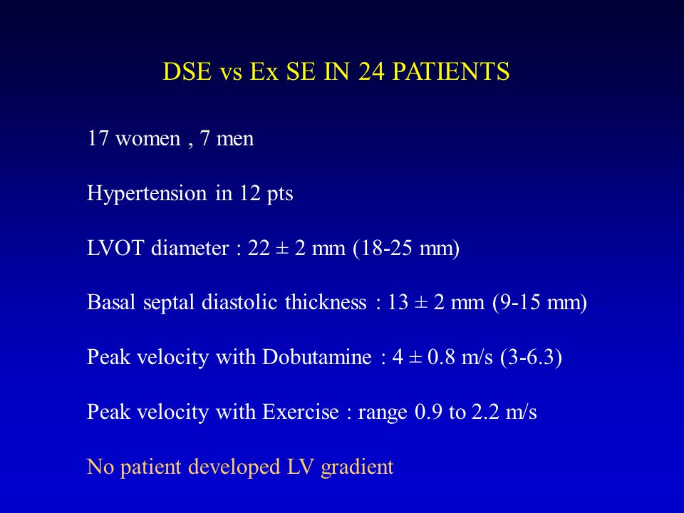 DSE vs Ex SE IN 24 PATIENTS 17 women , 7 men Hypertension in 12 pts