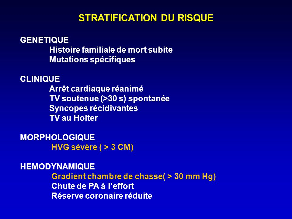 STRATIFICATION DU RISQUE