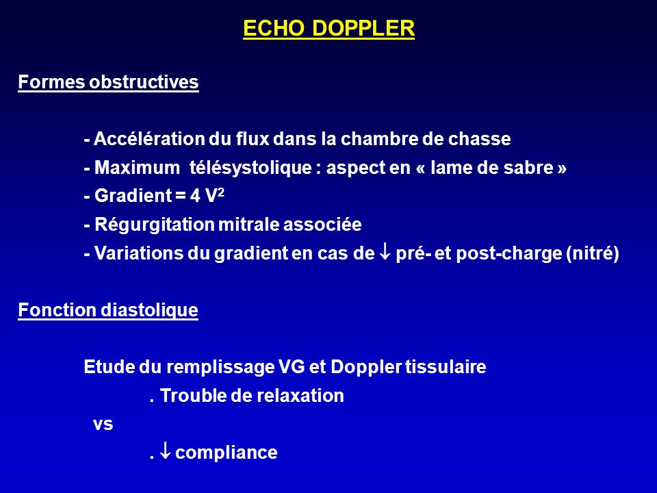 ECHO DOPPLER Formes obstructives