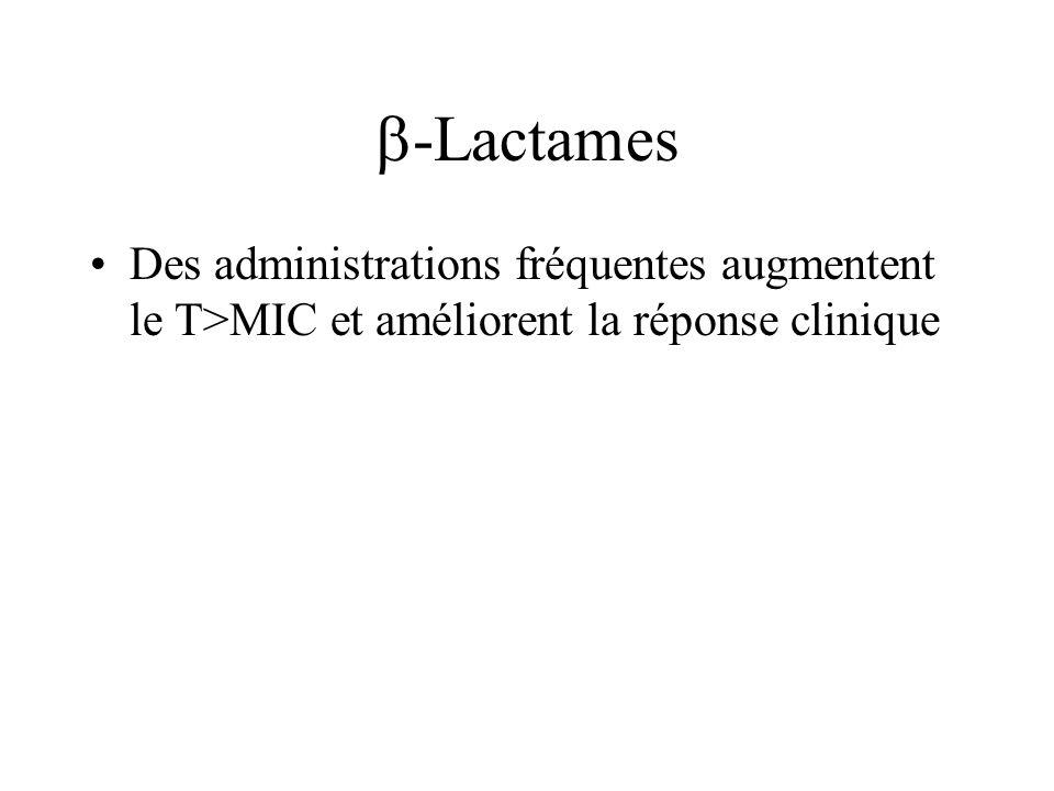 -Lactames Des administrations fréquentes augmentent le T>MIC et améliorent la réponse clinique.