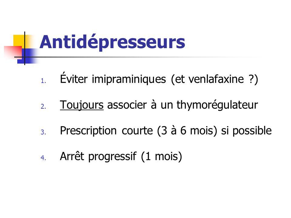 Antidépresseurs Éviter imipraminiques (et venlafaxine )