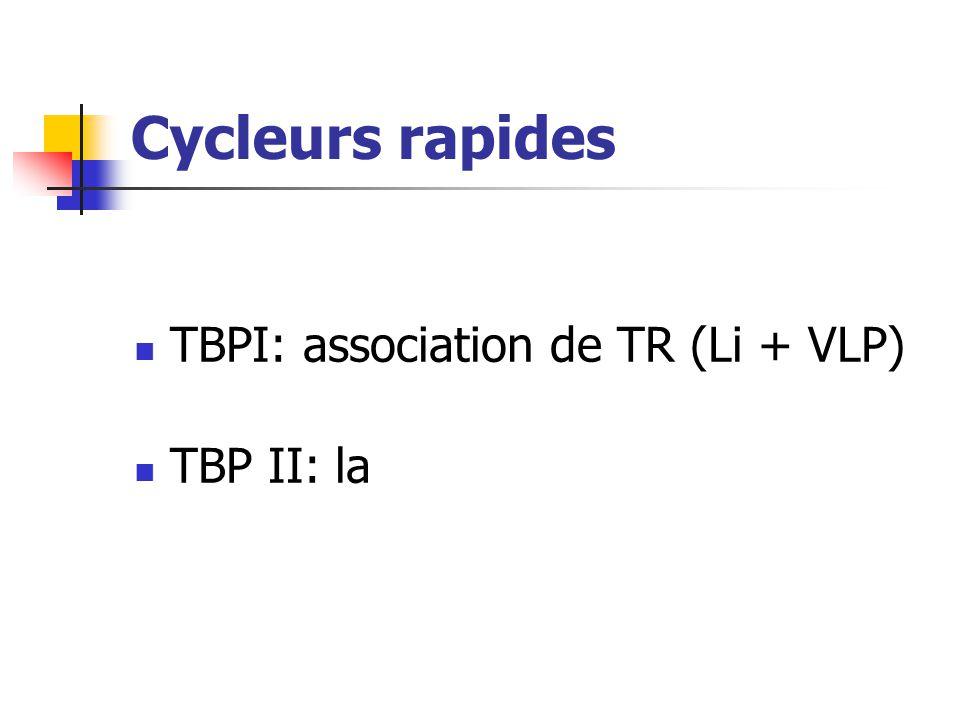 Cycleurs rapides TBPI: association de TR (Li + VLP) TBP II: la