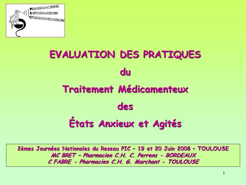 EVALUATION DES PRATIQUES du Traitement Médicamenteux des