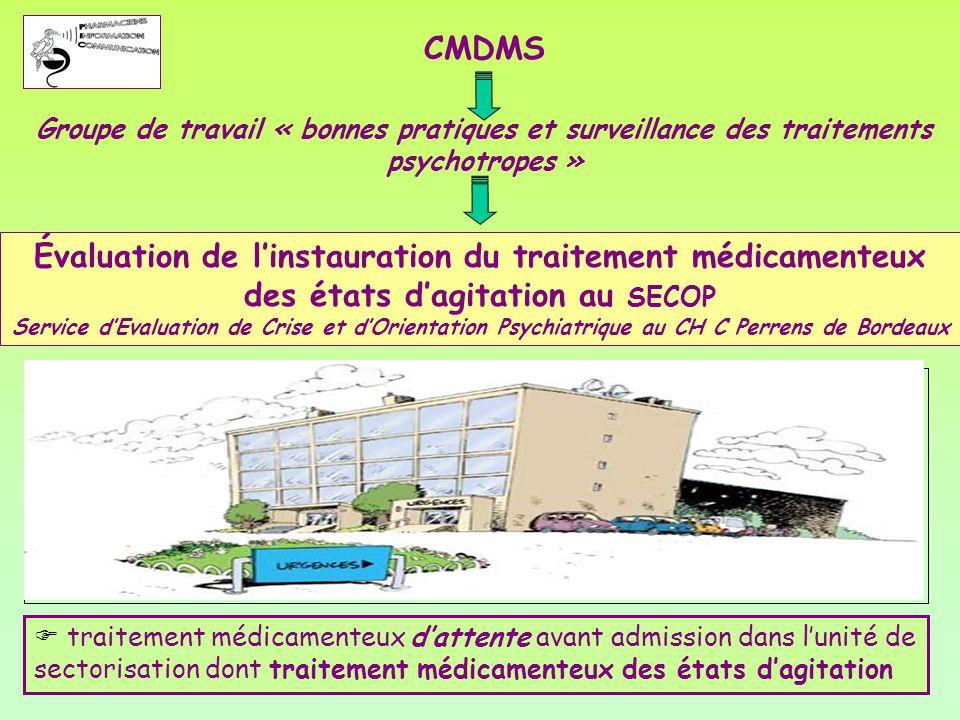 CMDMS Groupe de travail « bonnes pratiques et surveillance des traitements psychotropes »