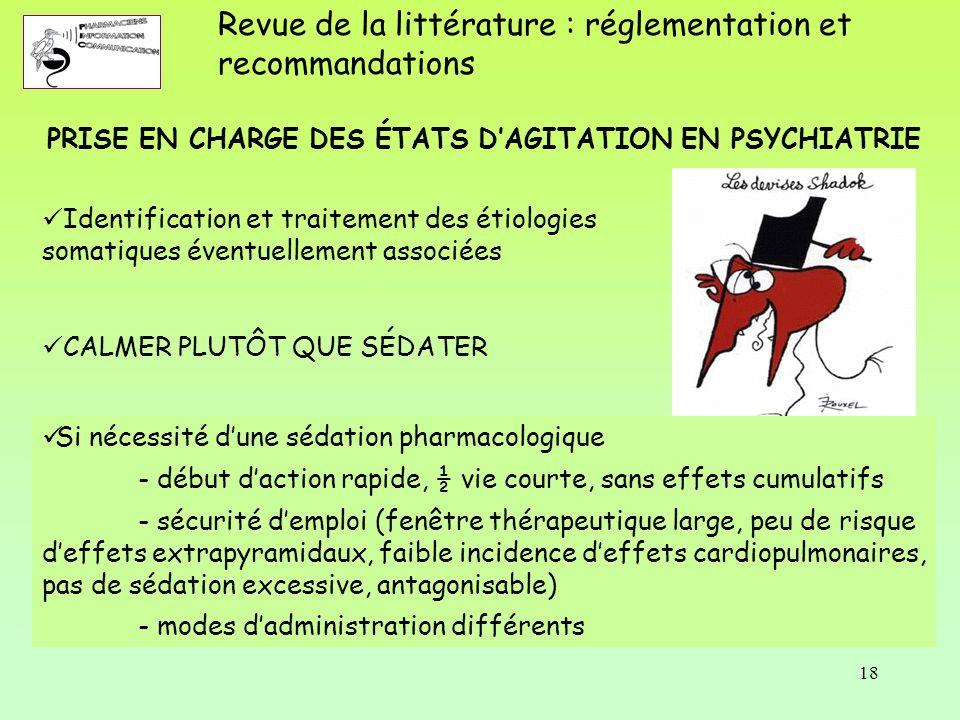 PRISE EN CHARGE DES ÉTATS D'AGITATION EN PSYCHIATRIE