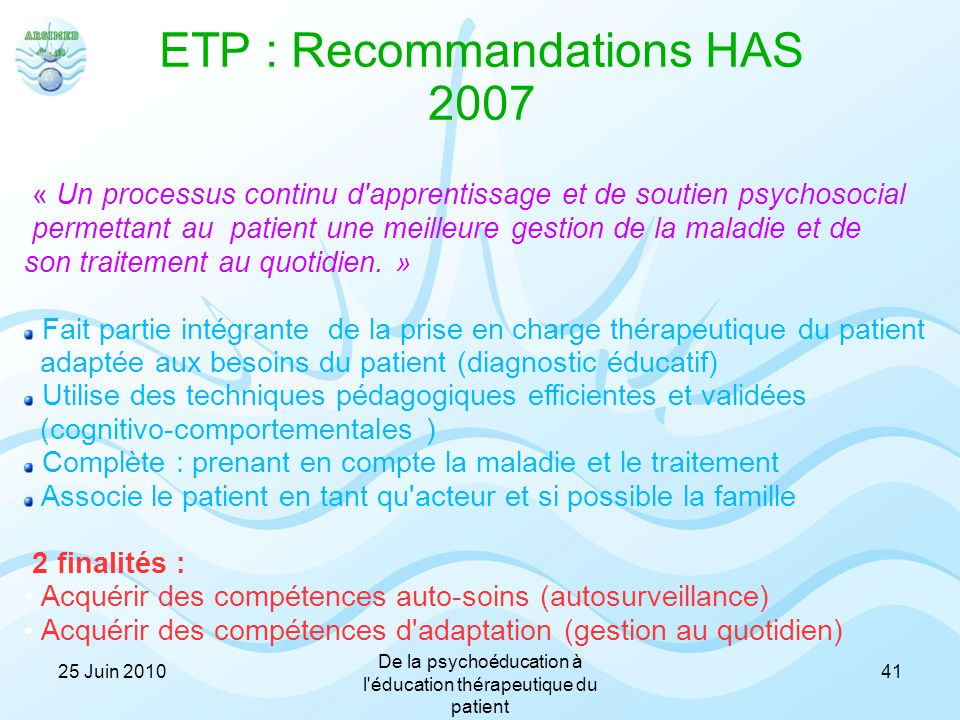 ETP : Recommandations HAS 2007