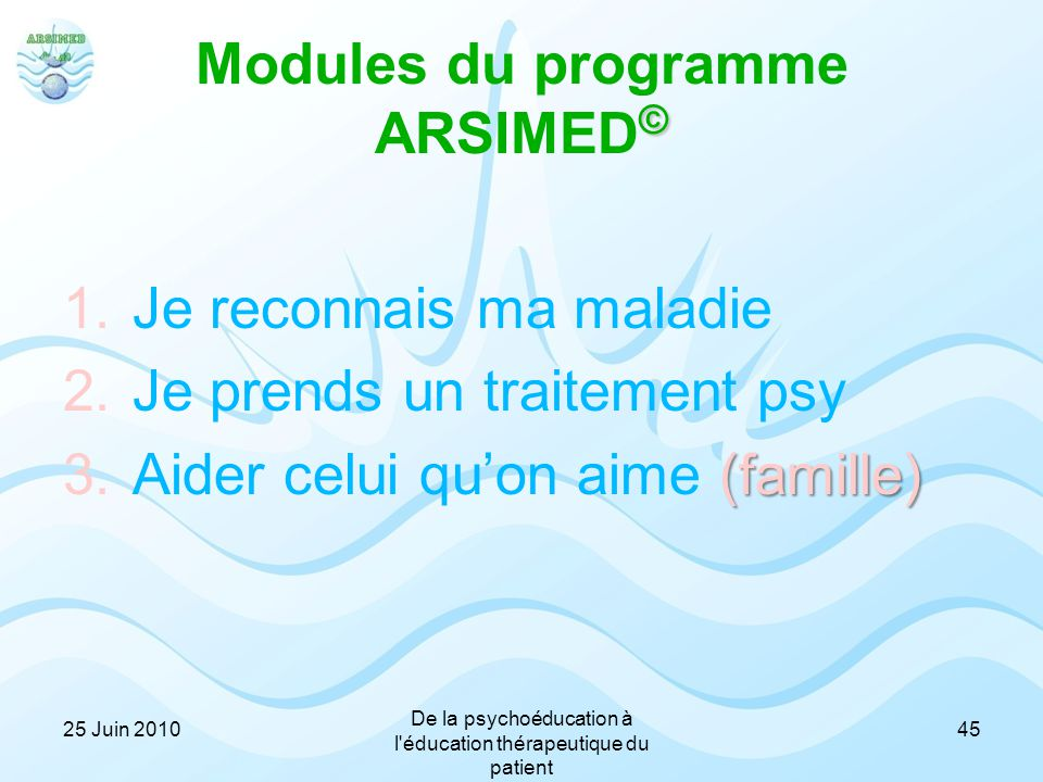 Modules du programme ARSIMED©