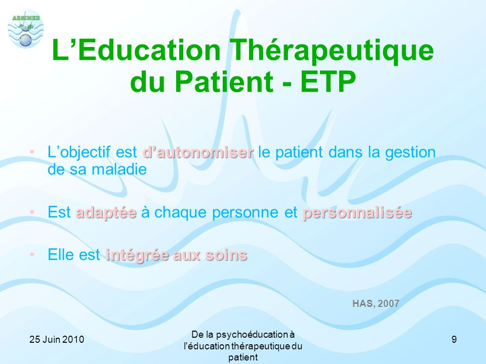 L'Education Thérapeutique du Patient - ETP