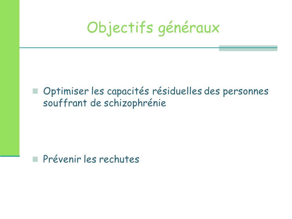 Objectifs généraux Optimiser les capacités résiduelles des personnes souffrant de schizophrénie.