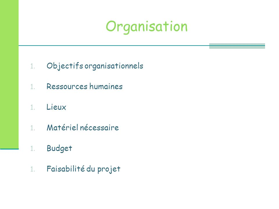 Organisation Objectifs organisationnels Ressources humaines Lieux