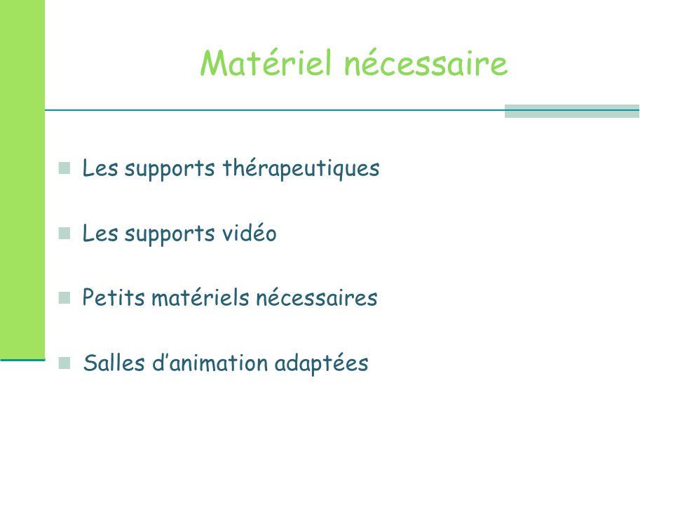 Matériel nécessaire Les supports thérapeutiques Les supports vidéo