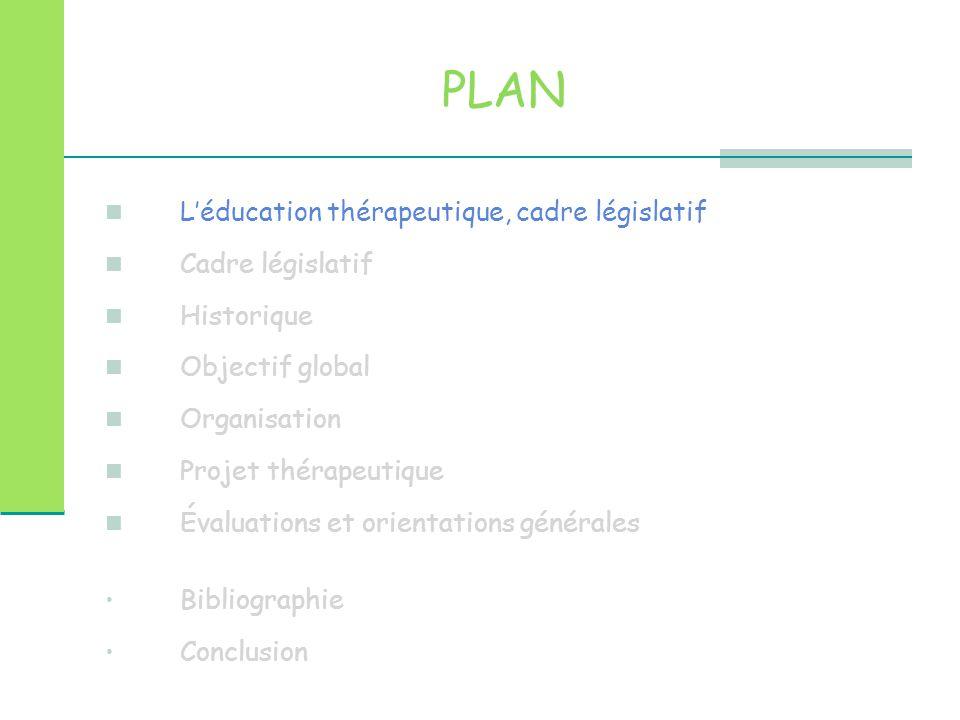PLAN L'éducation thérapeutique, cadre législatif Cadre législatif
