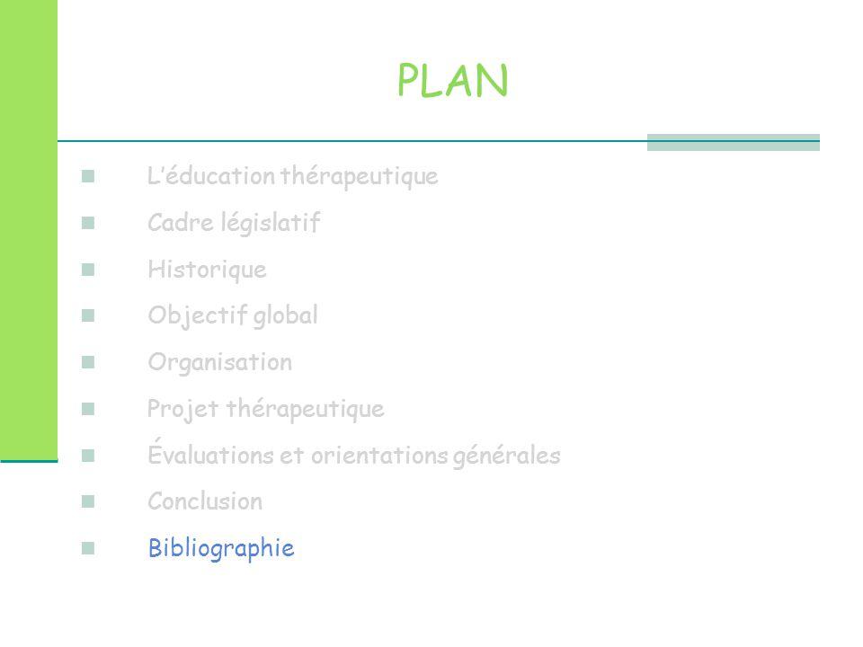 PLAN L'éducation thérapeutique Cadre législatif Historique