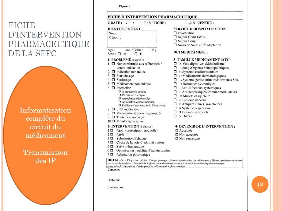 Informatisation complète du circuit du médicament