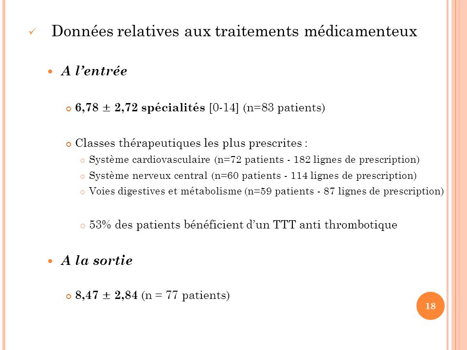 Données relatives aux traitements médicamenteux