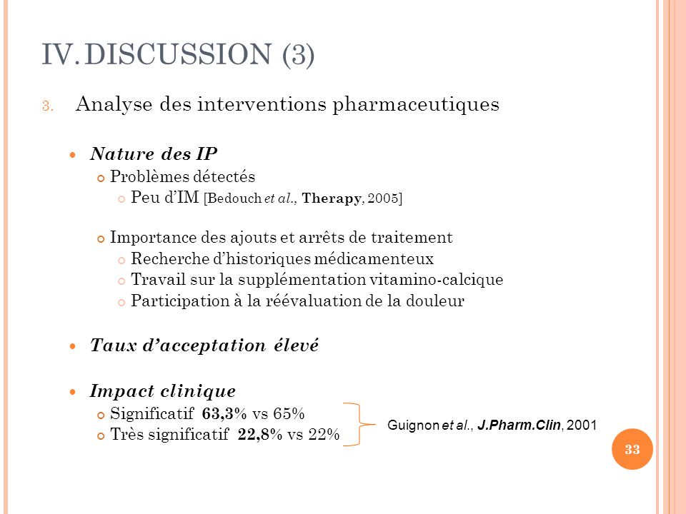 DISCUSSION (3) Analyse des interventions pharmaceutiques Nature des IP