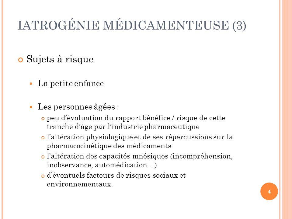IATROGÉNIE MÉDICAMENTEUSE (3)