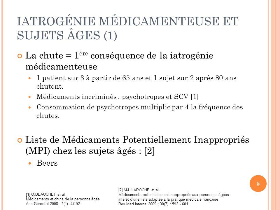 IATROGÉNIE MÉDICAMENTEUSE ET SUJETS ÂGES (1)