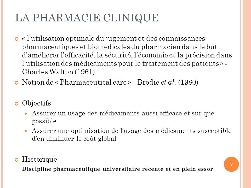 LA PHARMACIE CLINIQUE