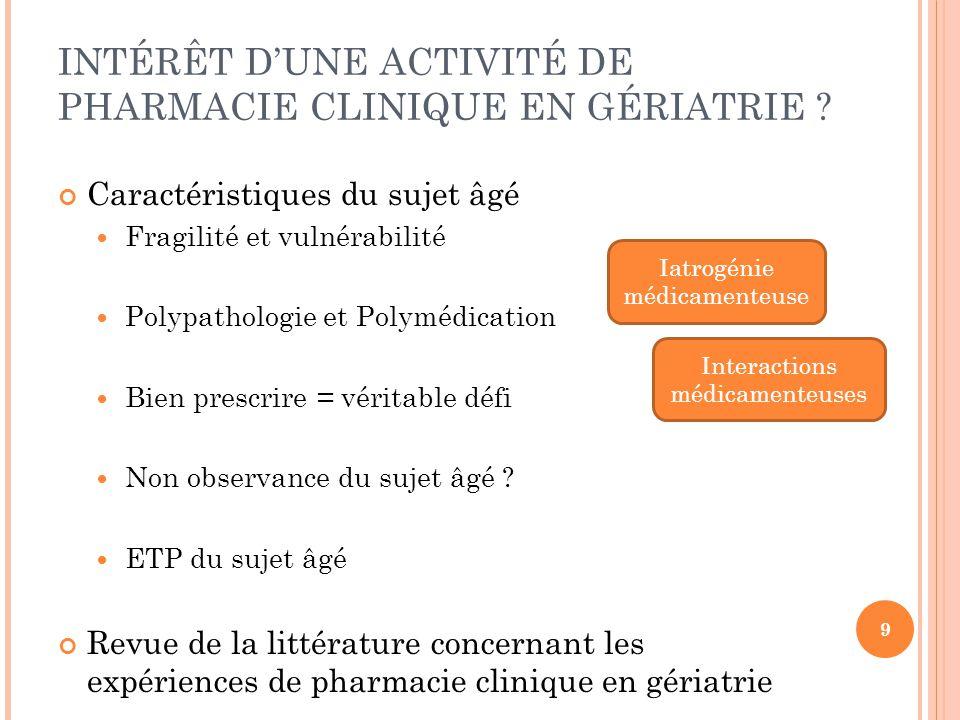 INTÉRÊT D'UNE ACTIVITÉ DE PHARMACIE CLINIQUE EN GÉRIATRIE