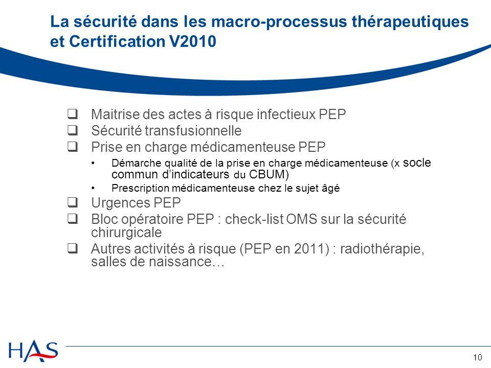 La sécurité dans les macro-processus thérapeutiques et Certification V2010