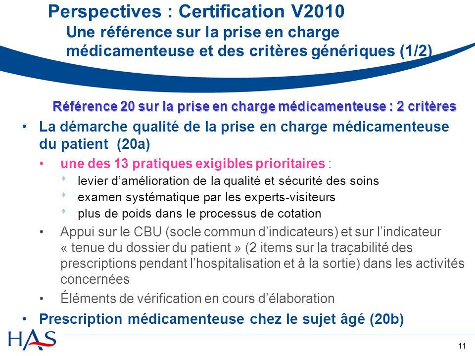 Référence 20 sur la prise en charge médicamenteuse : 2 critères