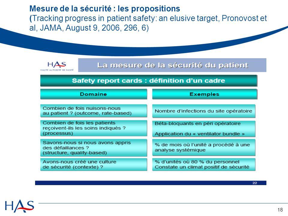 Mesure de la sécurité : les propositions (Tracking progress in patient safety: an elusive target, Pronovost et al, JAMA, August 9, 2006, 296, 6)