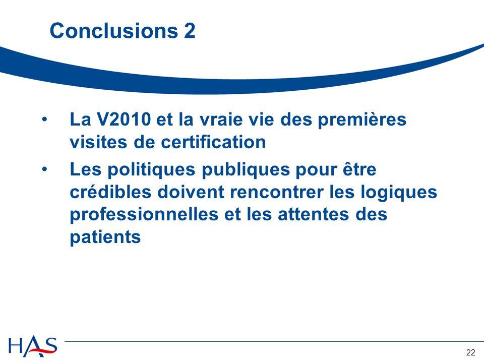 Conclusions 2 La V2010 et la vraie vie des premières visites de certification.