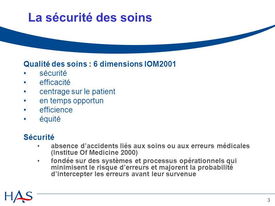 La sécurité des soins Qualité des soins : 6 dimensions IOM2001