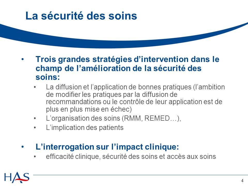 La sécurité des soins Trois grandes stratégies d'intervention dans le champ de l'amélioration de la sécurité des soins: