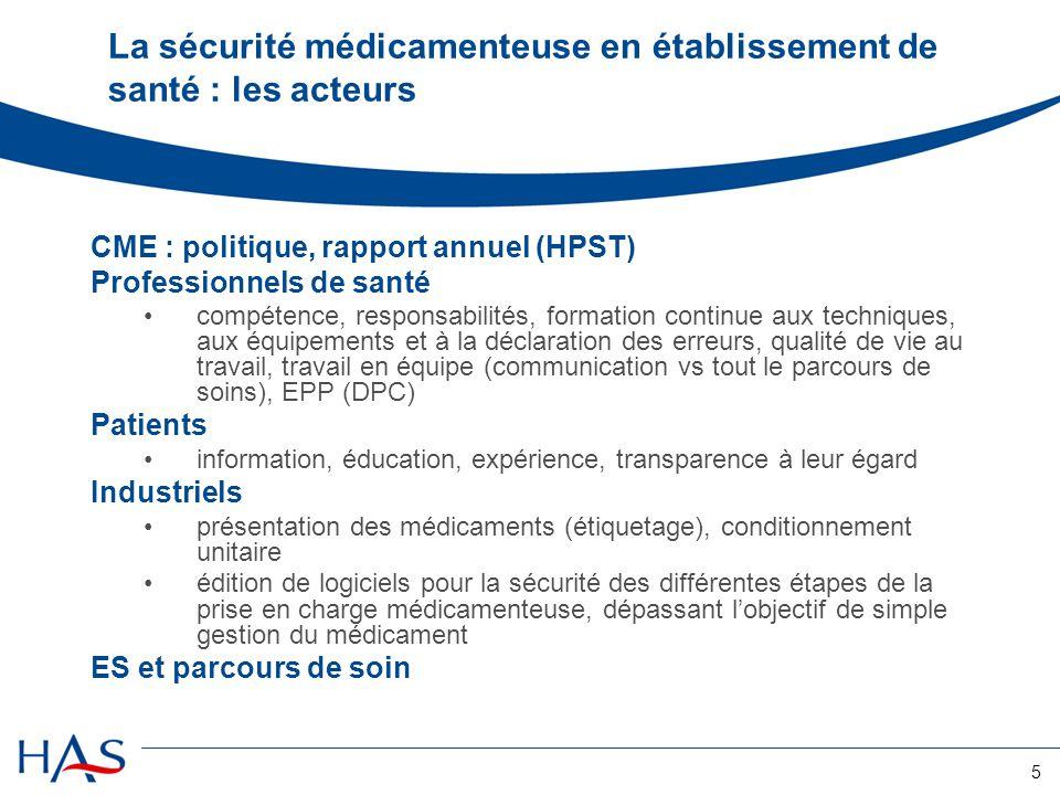 La sécurité médicamenteuse en établissement de santé : les acteurs