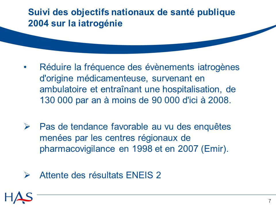 Suivi des objectifs nationaux de santé publique 2004 sur la iatrogénie