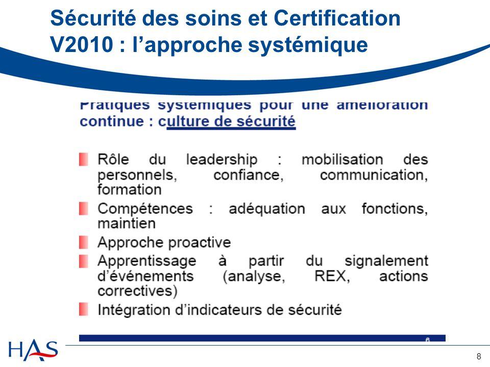 Sécurité des soins et Certification V2010 : l'approche systémique